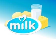 Vectorontwerp met melk, zuivelproduct Stock Afbeeldingen