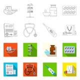 Vectorontwerp van apotheek en het ziekenhuispictogram Inzameling van apotheek en bedrijfs vectorpictogram voor voorraad royalty-vrije illustratie