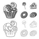 Vectorontwerp van banketbakkerij en culinair symbool Inzameling van banketbakkerij en product vectorpictogram voor voorraad royalty-vrije illustratie