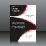 Vectorontwerp van de vlieger met rode en zwarte elementen en plaatsen voor beelden Royalty-vrije Stock Afbeeldingen