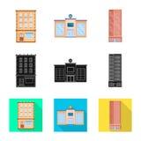 Vectorontwerp van gemeentelijk en centrumpictogram Reeks van gemeentelijk en landgoed vectorpictogram voor voorraad vector illustratie
