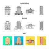 Vectorontwerp van gemeentelijk en centrumsymbool Inzameling van gemeentelijk en landgoed vectorpictogram voor voorraad royalty-vrije illustratie
