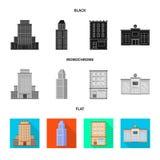 Vectorontwerp van gemeentelijk en centrumteken Inzameling van gemeentelijk en landgoed vectorpictogram voor voorraad royalty-vrije illustratie