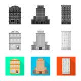 Vectorontwerp van gemeentelijk en centrumteken Reeks van gemeentelijk en landgoed vectorpictogram voor voorraad stock illustratie
