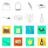 Vectorontwerp van gewas en ecologisch embleem Reeks van gewas en kokend vectorpictogram voor voorraad stock illustratie