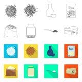 Vectorontwerp van gewas en ecologisch symbool Inzameling van gewas en kokend vectorpictogram voor voorraad stock illustratie