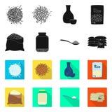 Vectorontwerp van gewas en ecologisch teken Reeks van gewas en kokend voorraadsymbool voor Web stock illustratie