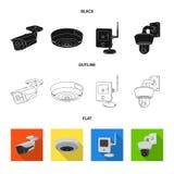 Vectorontwerp van het embleem van kabeltelevisie en van de camera Reeks van kabeltelevisie en systeem vectorpictogram voor voorra vector illustratie