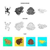 Vectorontwerp van het wild en moerasteken Inzameling van het wild en reptielvoorraad vectorillustratie stock illustratie