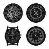Vectorontwerp van klok en tijdpictogram Reeks van klok en van de cirkelvoorraad vectorillustratie royalty-vrije illustratie