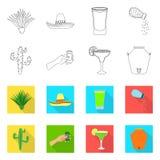 Vectorontwerp van koffie en Latijns pictogram Inzameling van koffie en nationaal voorraadsymbool voor Web royalty-vrije illustratie