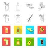 Vectorontwerp van koffie en Latijns pictogram Reeks van koffie en nationaal voorraadsymbool voor Web royalty-vrije illustratie