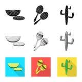 Vectorontwerp van koffie en Latijns symbool Inzameling van koffie en nationale voorraad vectorillustratie vector illustratie
