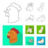 Vectorontwerp van landbouw en het fokkenembleem Inzameling van landbouw en organisch vectorpictogram voor voorraad royalty-vrije illustratie