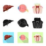 Vectorontwerp van lichaam en menselijk embleem Inzameling van lichaam en medisch vectorpictogram voor voorraad stock illustratie