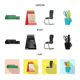 Vectorontwerp van meubilair en het werksymbool Inzameling van meubilair en huisvoorraadsymbool voor Web royalty-vrije illustratie