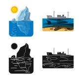 Vectorontwerp van natuurlijk en rampenpictogram Reeks van de vectorillustratie van de natuurlijke en risicovoorraad stock illustratie