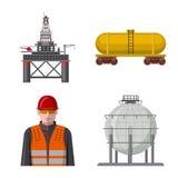 Vectorontwerp van olie en gasembleem Reeks van olie en benzinevoorraad vectorillustratie stock illustratie