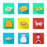 Vectorontwerp van romig en productpictogram Inzameling van de vectorillustratie van de romige en landbouwbedrijfvoorraad royalty-vrije illustratie