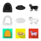 Vectorontwerp van romig en productsymbool Reeks van het symbool van de romige en landbouwbedrijfvoorraad voor Web royalty-vrije illustratie