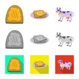 Vectorontwerp van romig en productteken Reeks van romig en landbouwbedrijf vectorpictogram voor voorraad stock illustratie