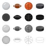 Vectorontwerp van sport en balembleem Inzameling van sport en atletische voorraad vectorillustratie royalty-vrije illustratie