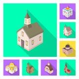Vectorontwerp van tempel en historisch symbool Inzameling van tempel en geloofs vectorpictogram voor voorraad stock illustratie