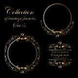 Vectorontwerp van uitstekende ronde gouden kaders op zwarte achtergrond voor kaarten, adreskaartjes en uitnodigingen stock illustratie