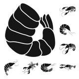 Vectorontwerp van vlees en delicatessesymbool Inzameling van vlees en krab vectorpictogram voor voorraad stock illustratie