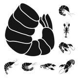 Vectorontwerp van vlees en delicatesseteken Inzameling van vlees en krabvoorraadsymbool voor Web stock illustratie