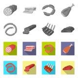 Vectorontwerp van vlees en hampictogram Inzameling van vlees en kokend vectorpictogram voor voorraad royalty-vrije illustratie