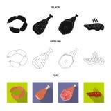 Vectorontwerp van vlees en hamsymbool Inzameling van vlees en kokend voorraadsymbool voor Web vector illustratie