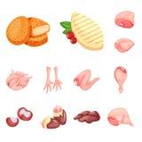 Vectorontwerp van vlees en ruw teken Reeks van vlees en geroosterd vectorpictogram voor voorraad stock illustratie