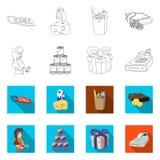 Vectorontwerp van voedsel en dranksymbool Inzameling van voedsel en opslagvoorraad vectorillustratie stock illustratie