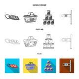 Vectorontwerp van voedsel en dranksymbool Inzameling van voedsel en opslagvoorraad vectorillustratie vector illustratie