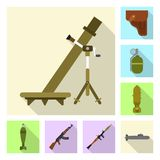 Vectorontwerp van wapen en kanonpictogram Reeks van wapen en legervoorraadsymbool voor Web stock illustratie