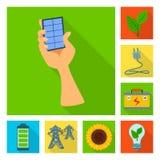 Vectorontwerp van Zonne en paneelembleem Inzameling van Zonne en groen vectorpictogram voor voorraad royalty-vrije illustratie