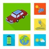 Vectorontwerp van Zonne en paneelteken Inzameling van Zonne en groen voorraadsymbool voor Web vector illustratie