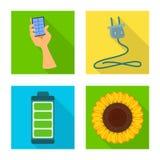 Vectorontwerp van Zonne en paneelteken Reeks van Zonne en groen voorraadsymbool voor Web stock illustratie