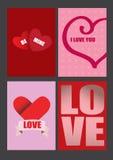 Vectorontwerpen voor de Groetkaarten van de Valentijnskaartendag en Affiches Stock Afbeeldingen