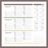 Vectorontwerper voor 2015 - Drie maandkalender Stock Foto
