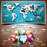 Vectorontwerpreeks infographic elementen. Wereld m Stock Foto's