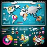 Vectorontwerpreeks infographic elementen. Wereld m Stock Afbeelding
