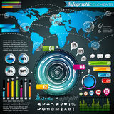 Vectorontwerpreeks infographic elementen. Wereldkaart en informatiegrafiek. Royalty-vrije Stock Afbeeldingen
