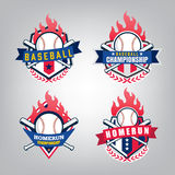 Vectorontwerpreeks van het teamembleem van de Honkbalsport Stock Fotografie