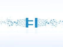 Vectorontwerptechnologie, stopverbinding, elektriciteitsachtergrond Stock Afbeelding