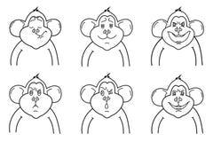 Vectoroverzicht van apen Royalty-vrije Stock Afbeeldingen