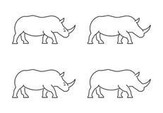 Vectoroverzichtsrinoceros De rinoceros van het lijnsilhouet Royalty-vrije Stock Fotografie