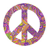 Vectorpacifismeteken De sierachtergrond van de hippiestijl Liefde en vrede, hand-drawn krabbelachtergrond en texturen Kleurrijke  Stock Fotografie