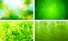 Vectorpak lage poly groene kleur als achtergrond stock illustratie